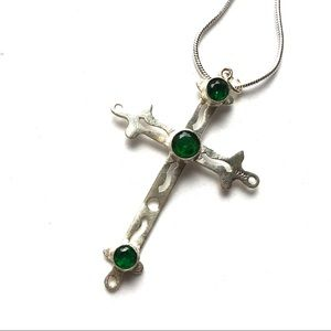 Sterling silver cross with green diopsite NEW